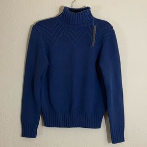 NWT Nine West chunky knit blue turtleneck sweater